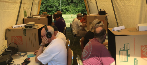 On the air at Field Day from inside one of the shelters.